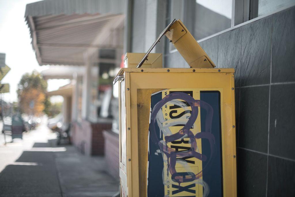 Graffiti on a newspaper box